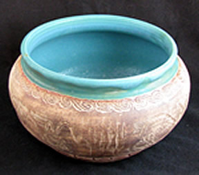 Bowl with turquoise rim in Anceint Runes series.